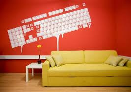 yellow sofas red wall office amp workspace colorful yellow sofa bed in modern office interio