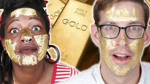 People Try A <b>24K</b>-<b>Gold Face Mask</b> - YouTube