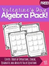 valentine s day algebra practice pack fun and practice pages for algebra students including order