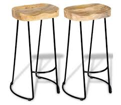 vidaXL Gavin <b>Bar Stools 2 pcs</b> Solid Mango Wood online on vidaXL ...