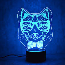 Christmas Cat Turtles Touch Dimming 3D LED Night <b>Light</b> 7Colorful ...