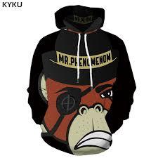 2019 <b>KYKU</b> Brand <b>Monkey Sweatshirts</b> Men Animal Hooded Casual ...