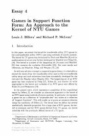games in support function form an approach to the kernel of ntu essays in game theory essays in game theory