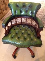 antique chesterfield captains leather office chair tilt and swivel antique leather office chair