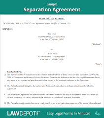 Separation Agreement Template | Free Separation Agreement Forms (US) Sample Separation Agreement