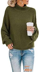 Saodimallsu Womens <b>Turtleneck</b> Oversized <b>Sweaters</b> Batwing Long ...