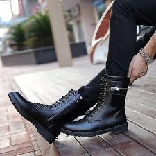 mens genuine leather western boots black metal toe winter shoes men rhinestone bordered waterproof safety work zip