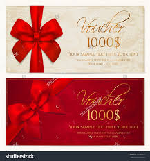voucher template border red bow ribbons stock vector  voucher template border and red bow ribbons this background design usable for