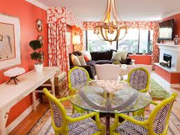dining room design red fabric exciting colorful dining room design