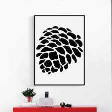 <b>Bianche Wall Black</b> and <b>White</b> Abstract Pine Nuts Pattern Canvas ...
