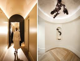 the corridor and women ceiling up lighting