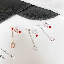heart shaped zircon earrings fashion