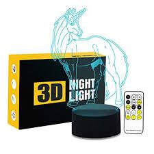 Circle Circle <b>Unicorn 3D</b> Optical Illusion Lamp 7 Colors Change ...
