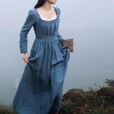 <b>Cinderella</b> Elegant Square Collar Linen And Cotton Slim <b>Long</b> Dress