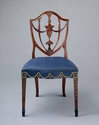 hepplewhite shield dining chairs set: side dining shield back chair with c vase and grape carvings in mahogany ebony