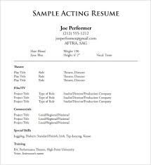 theatre acting resume free pdf template actors resume template word