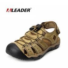 Aleader <b>Mens</b> Leather Outdoor Sandals New <b>2017 Summer</b> Outdoor ...