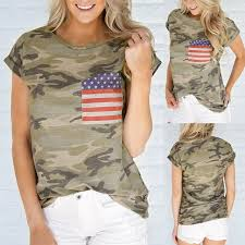 O-Neck Pockets 2019 newly style <b>Women</b> casual Camouflage tops ...