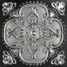 sagging tin ceiling tiles bathroom:  alhambra faux tin ceiling tile  antique silver