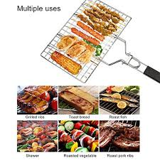 OuChang Flip Easy <b>BBQ Grilling</b> Basket <b>Large Foldable Portable</b> ...