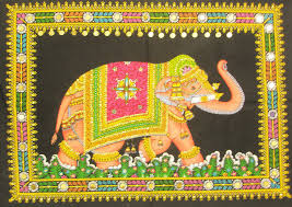 Small Picture Decorated Indian Elephant Tapestry Sequin Wall Hanging Bohemian