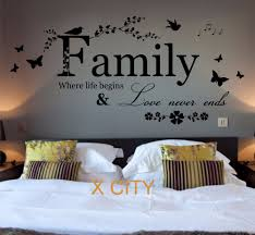 wall decal family art bedroom decor family where life begins quote words bedroom wall art sticker removable vinyl transfer decal home decoration s m l