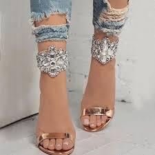 <b>Crystal</b> Cuff Sandals - Gold in <b>2019</b>   Stylish sandals, Fashion shoes ...