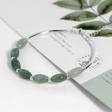 <b>Ruifan</b> 925 Sterling Silver Bracelets Ladies Natural <b>Green</b> Jade Oval ...