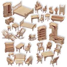 buy doll house furniture set woodcraft construction kit 124 scale now cheap doll houses with furniture