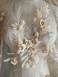<b>Pearl Beaded</b> Lace Applique 3D <b>Flowers</b> Sequined Patch Motif For ...