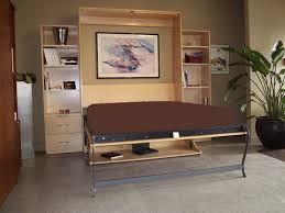 brown wall colour idea with abstract artwork decor and creative murphy bed desk plus cool potted awesome murphy bed office