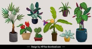 Decorative <b>plants</b> icons <b>tree</b> pots sketch colorful <b>classic</b> Free vector ...