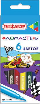 """<b>Фломастеры Пифагор</b> """"<b>Гонщики</b>"""", Эконом, 6 цветов ..."""