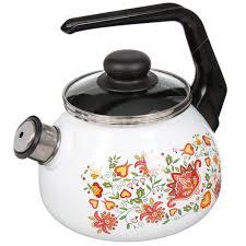 <b>Чайник эмалированный</b> СтальЭмаль Вышивка <b>со свистком</b>, 2 л ...