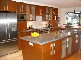 kitchen cabinets white backsplash amusing orange wooden kitchen cabinets with white subway tile backspal