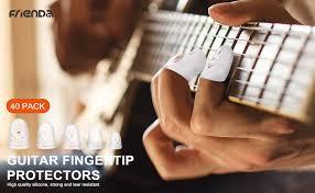 Anti-slip <b>Silicone</b> Fingertip Protectors Guitar Finger Guards <b>5 Sizes</b>