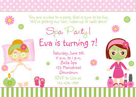 spa party invitations printable kids birthday invites from spa party invitations printables girls invitetown