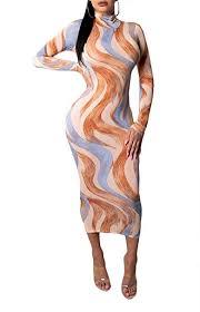 Ophestin Women Sexy Long Sleeve Turtleneck Floral ... - Amazon.com
