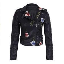 Ailegogo Spring <b>Autumn</b> Flowers Embroidery <b>Pu Leather</b> Jacket ...