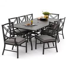 patio table and 6 chairs: audubon  piece aluminum patio dining set with  side chairs and rectangular table canvas charcoal