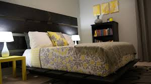 yellow and gray bedroom: cool and elegant grey and yellow bedroom for sweet home