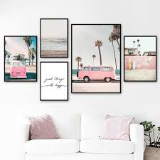 (Frame Not Included)Pink Bus Sky Sea Beach <b>Coconut</b> Palm Quote ...