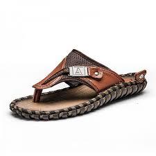 Buy <b>Merkmak Luxury Brand</b> New Mens Flip Flops Genuine Leather ...