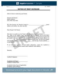 notice of rent increase sample tenant lease termination letter