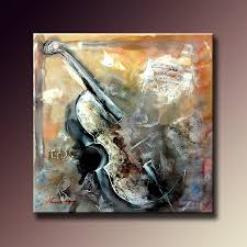 <b>100</b>% <b>Hand painted</b> Canvas <b>Oil Paintings</b> Violin Musical Abstract ...