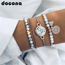 <b>docona Bohemian Gold Color</b> Heart Beads Tassel Bracelet Set for ...