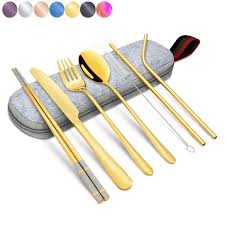 New 9 Pcs/set Portable <b>Stainless Steel Cutlery</b> Set <b>Knife</b> Fork Spoon ...