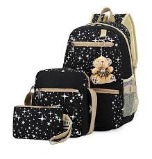 <b>3pcs</b>/<b>set</b> Women Backpack <b>School Bags</b> Star Printing Cute ...