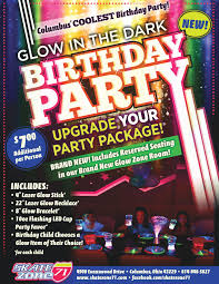 kids birthday parties columbus skate zone 71 columbus click here to enlarge our glow birthday party flyer