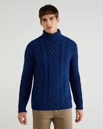 Turtleneck with braid <b>diamond pattern</b> - Dark Blue | Benetton